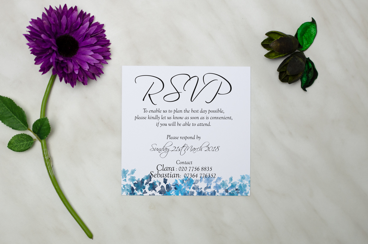Floral invitation with ribbon bow #7 - AliceInvitations.co.uk