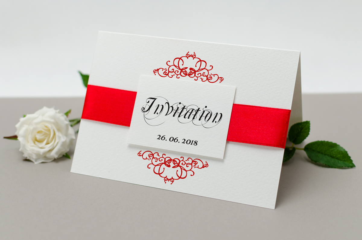 Elegant Ribbon Invitation #1 - AliceInvitations.co.uk