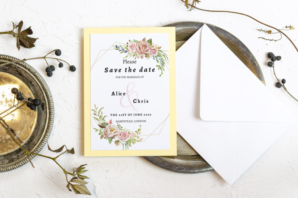 ecru-flower-crown-elegant-save-date-paper-matte-white-pad-yellow-b6-envelope-without-envelope
