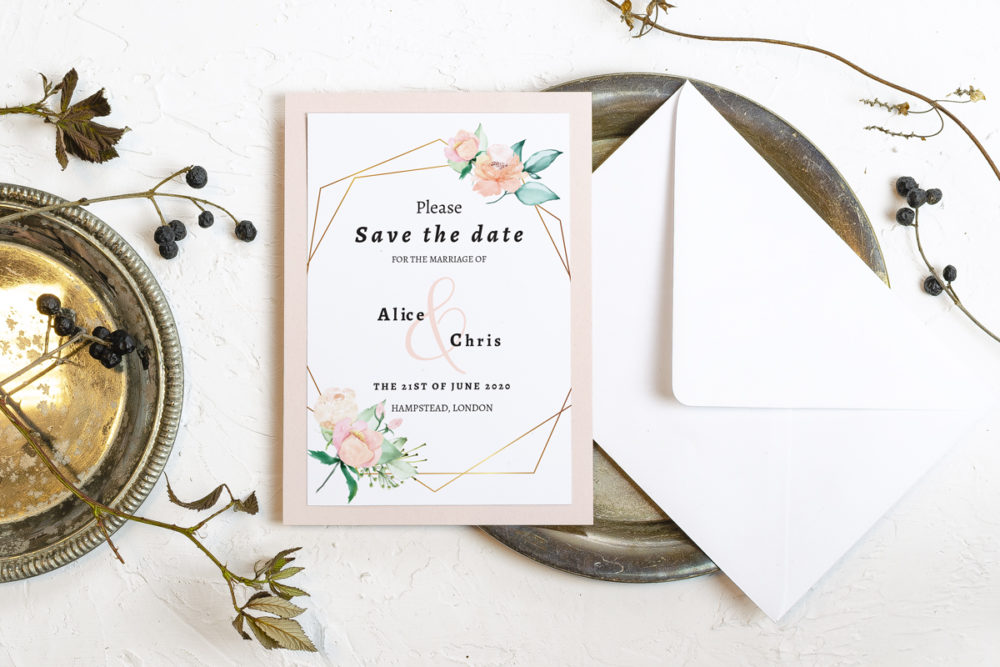 powder-flower-crown-elegant-save-date-paper-matte-white-pad-pink-pad-envelope-without-envelope