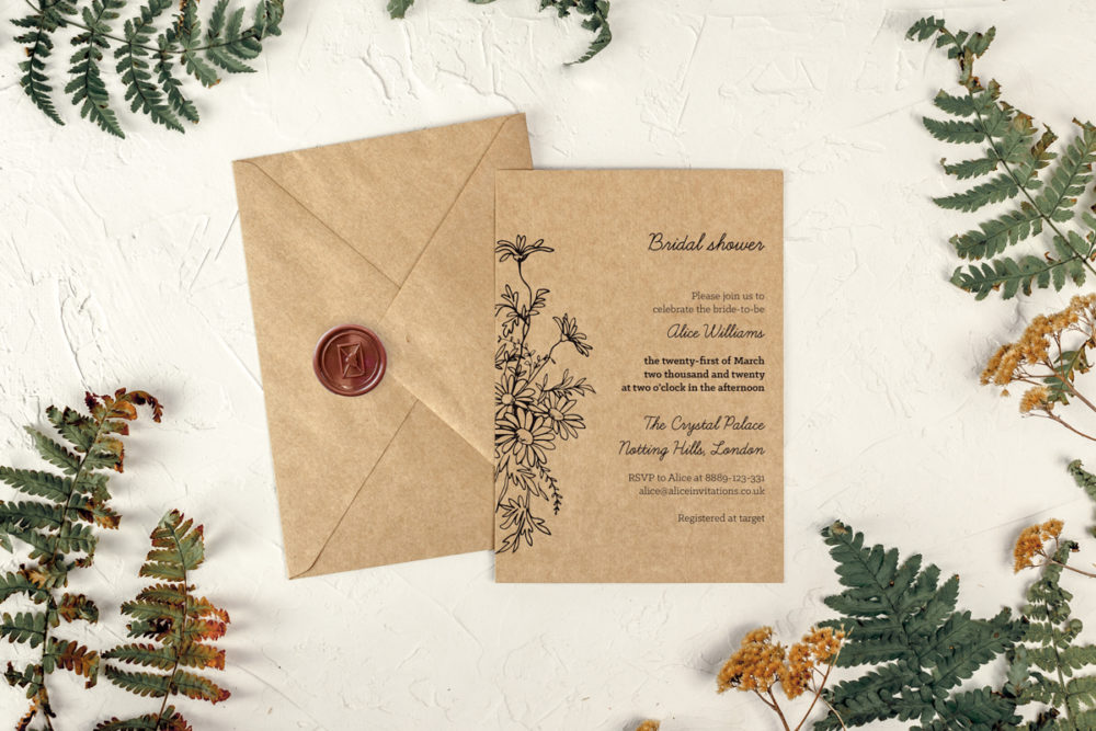 daisy-eco-bridal-shower-paper-eco-envelope-eco-sealing-wax-brown-envelope