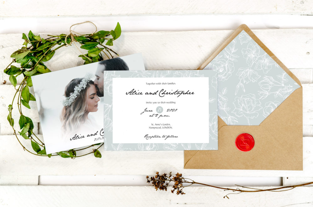 gray-flowers-photoinviation-envelope-paper-matte-white-envelope-eco-b6-with-envelope-liner-gray-flowers-sealing-wax-red-nvelope