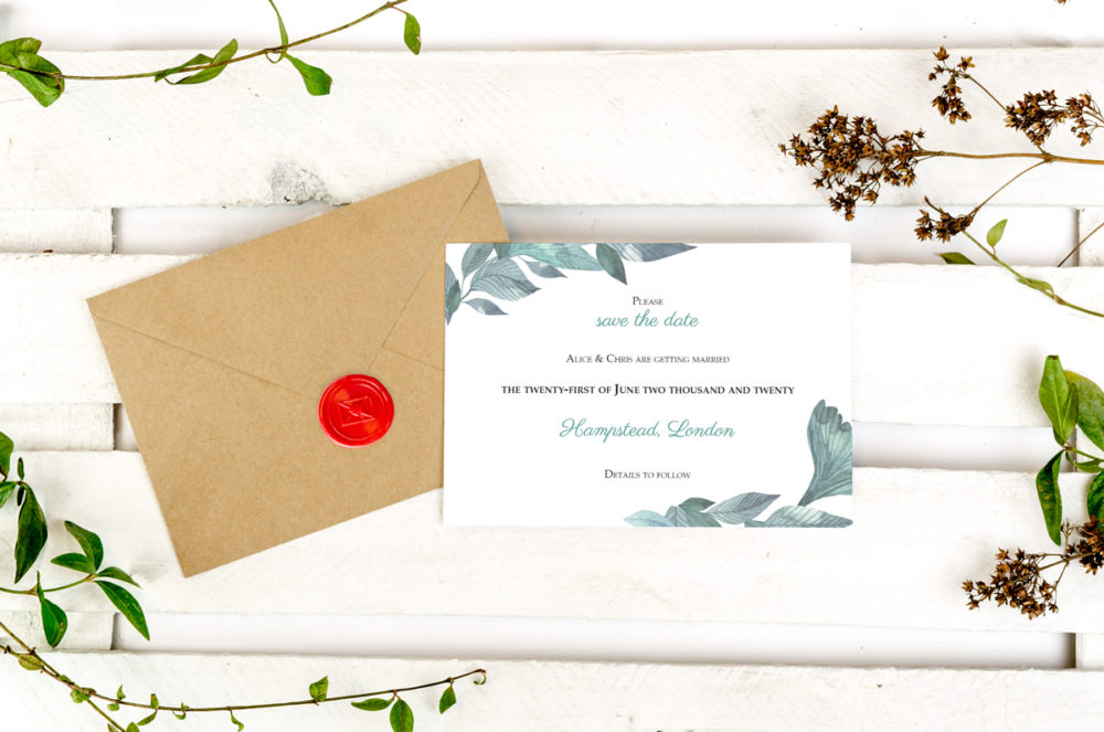 green-leaves-photo-save-date-paper-matte-white-envelope-eco-sealing-wax-red-nvelope